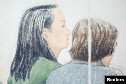 Skice iz sudnice u Vankuveru na pretresu o kauciji za Meng Vanžou.