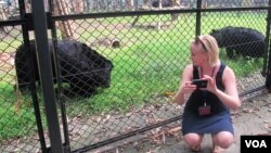 Jessica Beinacke at the Moon Bear rescue center near Chengdu, China