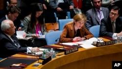 20일 유엔본부에서 열린 유엔안보리 회의에서 미국 대사가 시리아 사태에 관해 발언하고 있다.