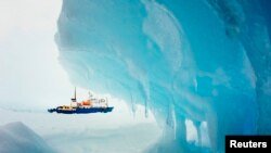 The ship MV Akademik Shokalskiy is pictured stranded in ice in Antarctica, December 29, 2013.