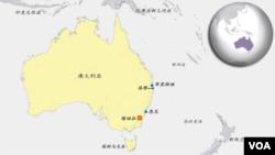 澳大利亞地理位置圖