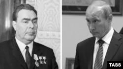 Генеральний секретар ЦК КПРС Леонід Брежнєв (ліворуч) та президент Росії Володимир Путін