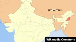 Peta kawasan Nagaland (warna merah) di India timur laut.
