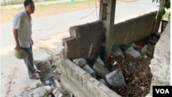 Phần tường bị đổ sập tại trường Trường tiểu học Nam Lộc, xã Thượng Tân Lộc. (Hình: Doãn Hòa. Hình trích xuất từ website tuoitre.vn)