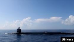 Tàu ngầm hạt nhân USS Rhode Island thuộc lớp Triden của Mỹ.