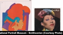 Retratos de Aretha Franklin por Glazer e Warhol. Cortesia do Museu dos Retratos do Smithsonian