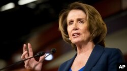 FILE - House Minority Leader Nancy Pelosi on Capitol Hill in Washington, April 23, 2015.