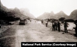 Workers in the 1930s build roads near Big Bend National Park