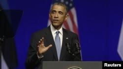 Presiden AS Barack Obama berbicara Tallinn, Estonia hari Rabu (3/9).