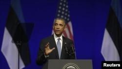 Le président Barack Obama a assuré les chefs d'Etat des pays Baltes du soutien de Washington