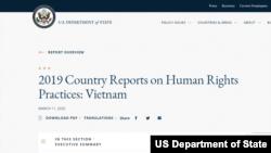 Báo cáo nhân quyền Việt Nam năm 2019 của Bộ Ngoại giao Hoa Kỳ, công bố ngày 11/03/2020. Photo State.gov