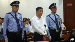Bo Xilai as he appeared earlier in Jinan Intermediate People's Court, China's eastern Shandong Province.