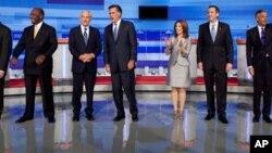 یکی از مناظره های نامزدهای جمهوری خواه انتخابات ریاست جمهوری آمریکا - ۲۰۱۱ / عکس از JEFF ZELENY و ASHLEY PARKER- منبع: نیویورک تایمز