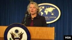美代理助理國務卿3月13日董雲裳在外國記者中心就蒂勒森的亞洲之行舉行吹風會資料照。