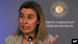 EU Foreign Affairs and Security Policy Vice President of the Commission Federica Mogherini speaks to the media in Ankara, Turkey, Dec. 8, 2014.