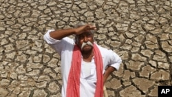 FILE - An Indian farmer looks skyward as he stands on a dried bed of a water body on the outskirts of Ahmadabad, India.
