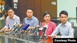 民主黨領導層舉行記者會說明與京官會面(蘋果日報圖片)