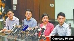 民主党领导层举行记者会说明与京官会面(苹果日报图片)