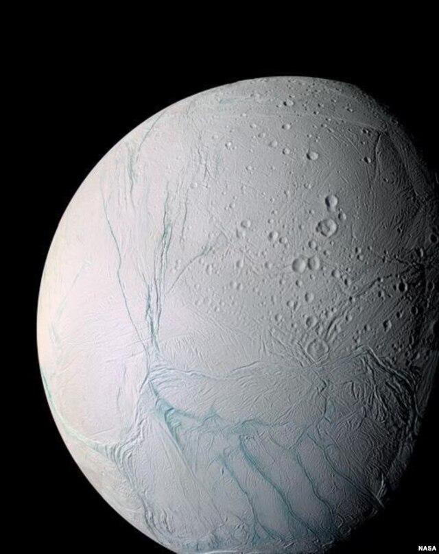 Enceladus, one of moons of Saturn, as seen by NASA's Cassini spacecraft. (NASA)