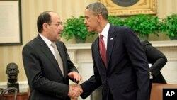 11月1日﹐美國總統奧巴馬(右)在白宮會晤伊拉克總理馬利基。