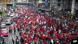 泰国红衫军周日在曼谷举行示威