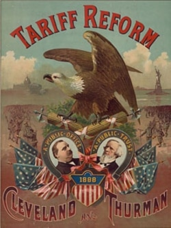 An 1888 campaign poster for President Grover Cleveland supporting tariff reform