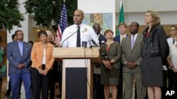 Charlotte, North Carolina, Police Chief Kerr Putney speaks during a news conference, Sept. 22, 2016, following Tuesday's fatal police shooting of Keith Lamont Scott, an African American, in Charlotte, North Carolina.
