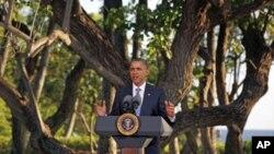 ປະທານາທິບໍດີ Barack Obama ໃຫ້ສໍາພາດຂ່າວ ຫລັງຈາກກອງປະຊຸມເອເປັກ ທີ່ Honolulu, ລັດ Hawaii, ວັນທີ 13 ພະຈິກ 2011.