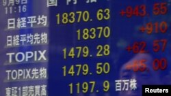 Papan elektronik di sebuah toko di Tokyo, Jepang, menunjukkan harga saham Nikkei dan nilai tukar mata uang yen terhadap dolar (foto: dok).