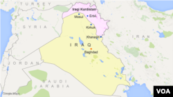 A map showing the location of Iraqi Kurdistan