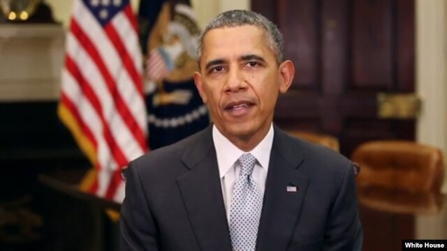 FILE - President Barack Obama delivers his weekly speech, April 5, 2014.