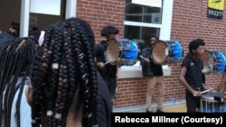 Members of Eastern High School's drumline play during a school event based around the themes of the 1619 Project. (Courtesy of Rebecca Millner/Eastern High School)