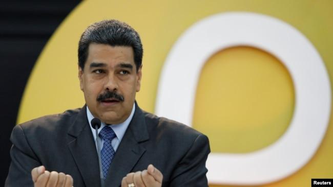 El presidente de Venezuela, Nicolás Maduro, habla durante el anuncio de lanzamiento del Petro, la criptomoneda venezolana. Caracas, febrero 20, 2018. Reuters.