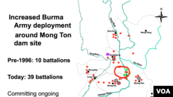 Burma Army deployments around the Mong Ton dam site.