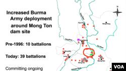 Burma Army deployments around the Mong Ton dam site.