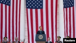 U.S. President Barack Obama speaks during Memorial Day ceremonies at Arlington National Cemetery in Virginia May 26, 2014.