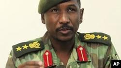 Mai magana da yawun rundunar sojan Sudan, Sawarmi Khaled Saad, yake zantawa da yan jarida akan fafatwar da aka yi a jihar Blue Nile.