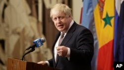 British Foreign Secretary Boris Johnson speaks to reporters at U.N. headquarters in New York, July 22, 2016.