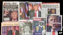 FILE - A montage of British newspaper front pages reporting on President-elect Donald Trump winning the American election are displayed in London, Nov. 10, 2016.
