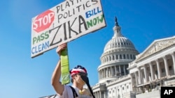 FILE - Wearing a homemade mosquito costume, an expectant father from Washington who asked not to be named, protests the lack of Congressional approval to fund a federal response to the Zika virus, Sept. 14, 2016, on Capitol Hill in Washington.