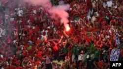 Les supporters de l'équipe du Maroc fête leur victoire à Abidjan, le 11 novembre 2017.