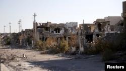 Các tòa nhà bị phá hủy tại thành phố Ramadi ở Iraq, ngày 16/1/2016.