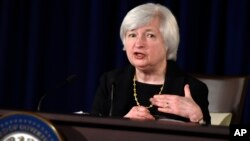 Federal Reserve Chairman Janet Yellen speaks during a news conference at the Federal Reserve in Washington, Sept. 17, 2014.