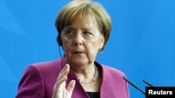 Thủ tướng Đức Angela Merkel tại một họp báo hồi tháng 4/2018