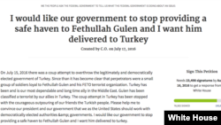 White House Petition Fethullah Gulen