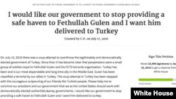 White House Petition Fethullah Gulen