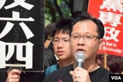 支聯會副主席蔡耀昌。(美國之音湯惠芸)
