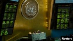 5月15日聯合國大會會場內的兩個電子板顯示大會表決支持敘利亞反對派