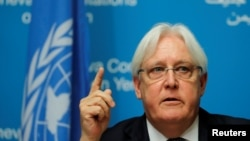U.N. envoy Martin Griffiths attends a news conference ahead of Yemen talks at the United Nations in Geneva, Sept. 5, 2018.
