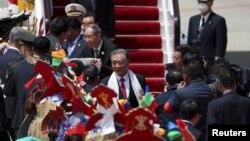 """中共中央政治局常委、全国政协主席汪洋抵达西藏参加""""西藏和平解放70周年""""庆祝活动。(2021年8月18日)"""